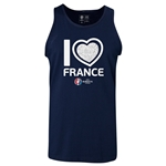 France Euro 2016 Heart Tank Top (Navy)