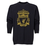 Liverpool Distressed Crest Crewneck Fleece (Black)