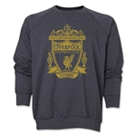Liverpool Distressed Crest Crewneck Fleece (Dark Gray)