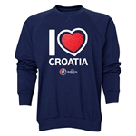 Croatia Euro 2016 Heart Crewneck Sweatshirt (Navy)