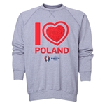Poland Euro 2016 Heart Crewneck Sweatshirt (Grey)