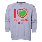 Portugal Euro 2016 Heart Crewneck Sweatshirt (Grey)