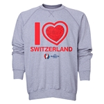 Switzerland Euro 2016 Heart Crewneck Sweatshirt (Grey)