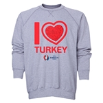 Turkey Euro 2016 Heart Crewneck Sweatshirt (Grey)