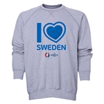 Sweden Euro 2016 Heart Crewneck Sweatshirt (Grey)