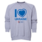 Ukraine Euro 2016 Heart Crewneck Sweatshirt (Grey)