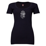 AC Milan Distressed Logo Women's Scoopneck T-Shirt (Black)