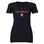 Switzerland FIFA Women's World Cup Canada 2015(TM) Women's Scoopneck T-Shirt (Black)