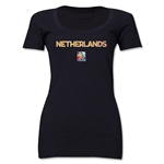 Netherlands FIFA Women's World Cup Canada 2015(TM) Women's Scoopneck T-Shirt (Black)