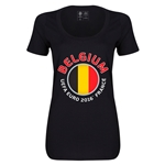 Belgium Euro 2016 Women's Fashion Scoopneck T-Shirt (Black)