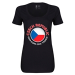 Czech Republic Euro 2016 Women's Fashion Scoopneck T-Shirt (Black)