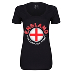 England Euro 2016 Women's Fashion Scoopneck T-Shirt (Black)