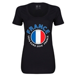 France Euro 2016 Women's Fashion Scoopneck T-Shirt (Black)