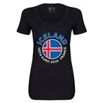 Iceland Euro 2016 Women's Fashion Scoopneck T-Shirt (Black)