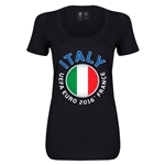 Italy Euro 2016 Women's Fashion Scoopneck T-Shirt (Black)
