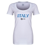 Italy Euro 2016 Women's Core Scoopneck T-Shirt (White)