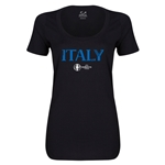 Italy Euro 2016 Women's Core Scoopneck T-Shirt (Black)