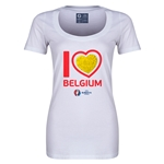 Belgium Euro 2016 Women's Heart Scoopneck T-Shirt (White)