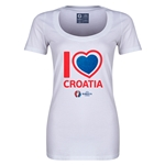 Croatia Euro 2016 Women's Heart Scoopneck T-Shirt (White)