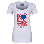 Czech Republic Euro 2016 Women's Heart Scoopneck T-Shirt (White)