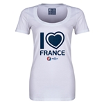France Euro 2016 Women's Heart Scoopneck T-Shirt (White)