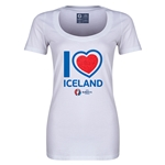 Iceland Euro 2016 Women's Heart Scoopneck T-Shirt (White)