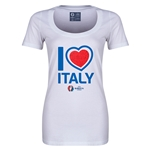 Italy Euro 2016 Women's Heart Scoopneck T-Shirt (White)