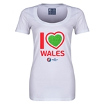 Wales Euro 2016 Women's Heart Scoopneck T-Shirt (White)