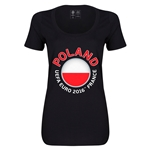 Poland Euro 2016 Women's Fashion Scoopneck T-Shirt (Black)