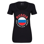 Russia Euro 2016 Women's Fashion Scoopneck T-Shirt (Black)