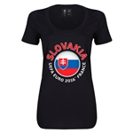 Slovakia Euro 2016 Women's Fashion Scoopneck T-Shirt (Black)