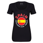Spain Euro 2016 Women's Fashion Scoopneck T-Shirt (Black)