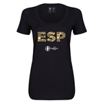 Spain Euro 2016 Women's Elements Scoopneck T-Shirt (Black)