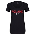 Poland Euro 2016 Women's Core Scoopneck T-Shirt (Black)