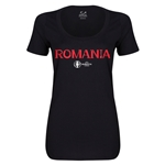 Romania Euro 2016 Women's Core Scoopneck T-Shirt (Black)