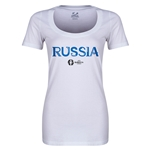 Russia Euro 2016 Women's Core Scoopneck T-Shirt (White)