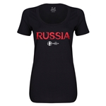 Russia Euro 2016 Women's Core Scoopneck T-Shirt (Black)