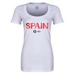 Spain Euro 2016 Women's Core Scoopneck T-Shirt (White)