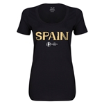 Spain Euro 2016 Women's Core Scoopneck T-Shirt (Black)