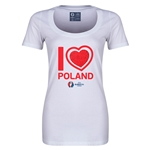 Poland Euro 2016 Women's Heart Scoopneck T-Shirt (White)