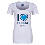 Russia Euro 2016 Women's Heart Scoopneck T-Shirt (White)