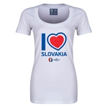 Slovakia Euro 2016 Women's Heart Scoopneck T-Shirt (White)