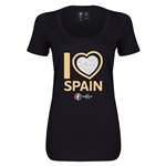 Spain Euro 2016 Women's Heart Scoopneck T-Shirt (Black)