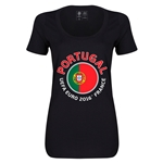 Portugal Euro 2016 Women's Fashion Scoopneck T-Shirt (Black)
