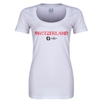 Switzerland Euro 2016 Women's Core Scoopneck T-Shirt (White)