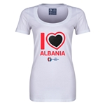 Albania Euro 2016 Women's Heart Scoopneck T-Shirt (White)