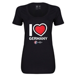 Germany Euro 2016 Women's Heart Scoopneck T-Shirt (Black)