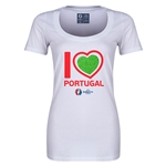 Portugal Euro 2016 Women's Heart Scoopneck T-Shirt (White)