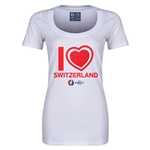 Switzerland Euro 2016 Women's Heart Scoopneck T-Shirt (White)