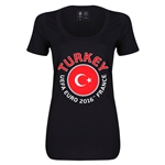 Turkey Euro 2016 Women's Fashion Scoopneck T-Shirt (Black)